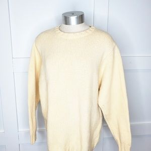 Vtg LL Bean Wool Off White Cream  Sweater Medium